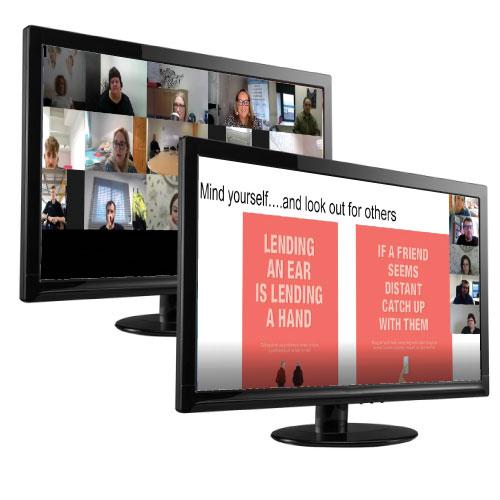 monitors showing calx wellbeing seminars